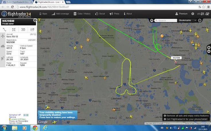 Η αποτύπωση του στίγματος στο flightradar24