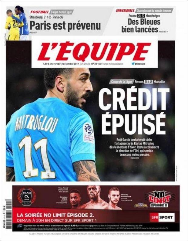 """L' Εquipe: """"Τέλος χρόνου για Μήτρογλου, δεν τον θέλει ο Γκαρθία"""""""