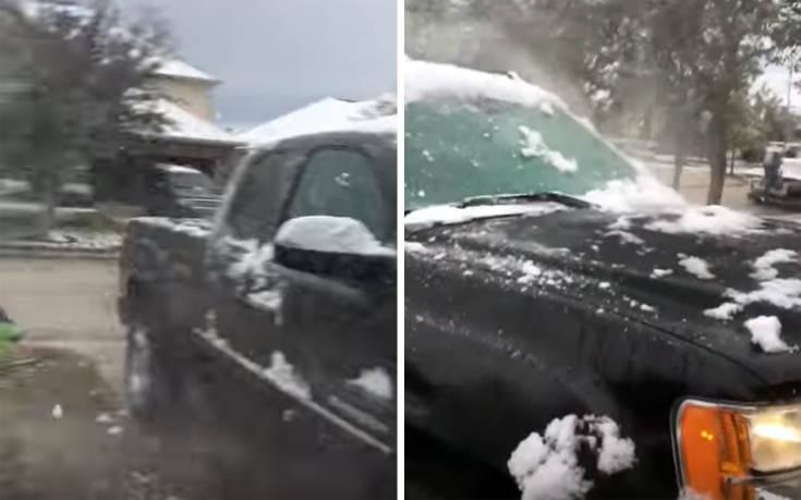 Καθάρισε το αυτοκίνητο σου από το χιόνι στο άψε-σβήσε