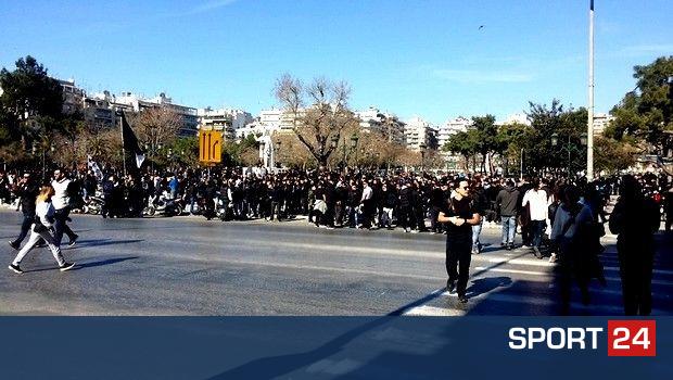 Συλλαλητήριο των οπαδών του ΠΑΟΚ στην Αριστοτέλους