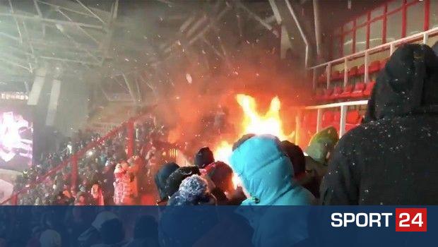 Η φωτιά στο Λοκομοτίβ – Σπαρτάκ παραλίγο να γίνει ανεξέλεγκτη!