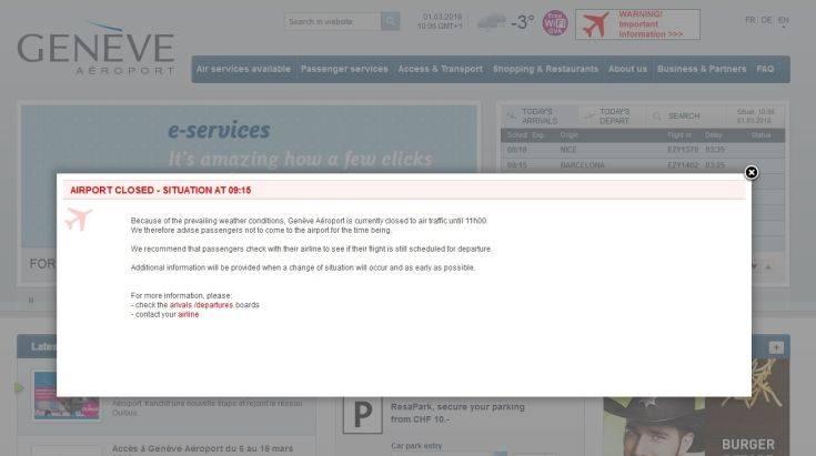 Κλειστό λόγω χιονιά το αεροδρόμιο της Γενεύης