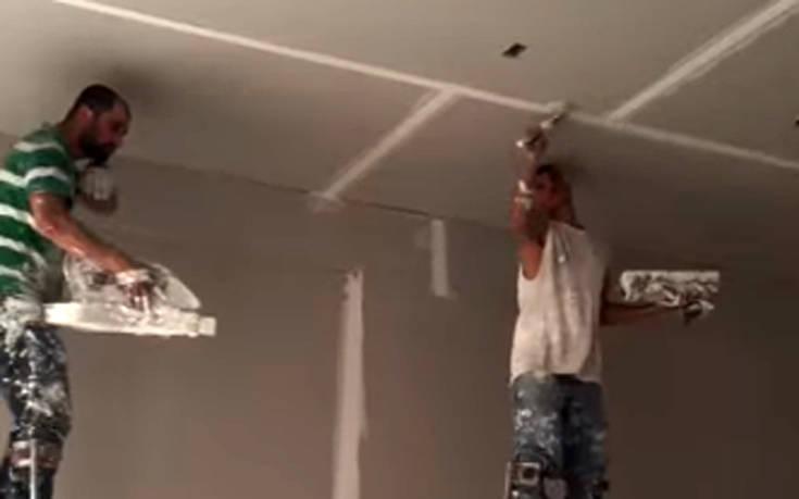 Εργάτες-ξυλοπόδαροι σε οικοδομή!
