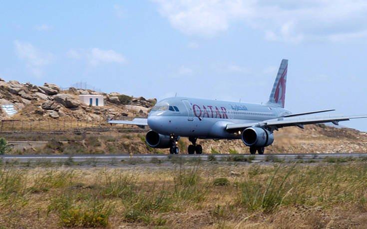 Η Qatar Airways προσγειώνεται για πρώτη φορά στο αεροδρόμιο της Μυκόνου