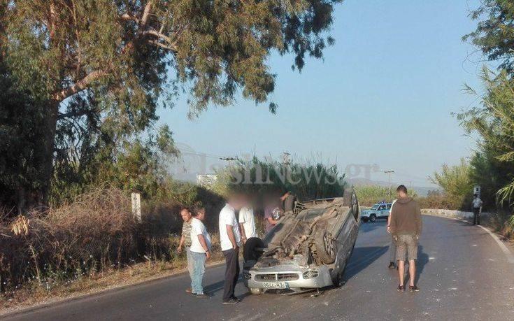 Αυτοκίνητο τούμπαρε στη μέση του δρόμου στην Κρήτη