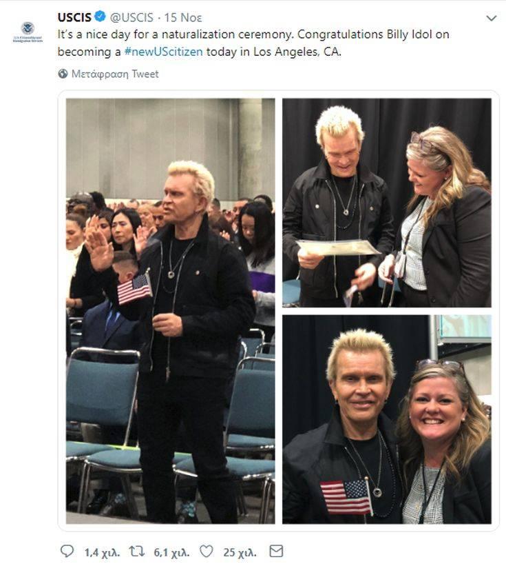 Ο Billy Idol έγινε Αμερικανός υπήκοος