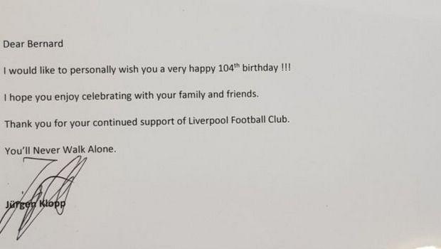 Λίβερπουλ: Ο Κλοπ προσκάλεσε στο γήπεδο οπαδό της ομάδας για τα 104α γενέθλιά του!