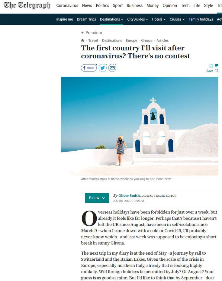 The Telegraph: Ελλάδα ο πρώτος προορισμός μετά την κρίση του κορονοϊού