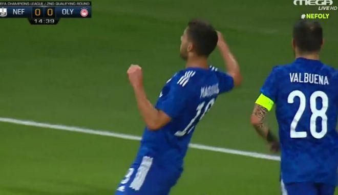 Νέφτσι – Ολυμπιακός: Πανέξυπνη ασίστ του Βαλμπουενά και προβολή του Μασούρα έφεραν το 0-1